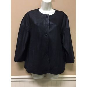 Chicos Size 2 Light Jacket Black Faux Leather